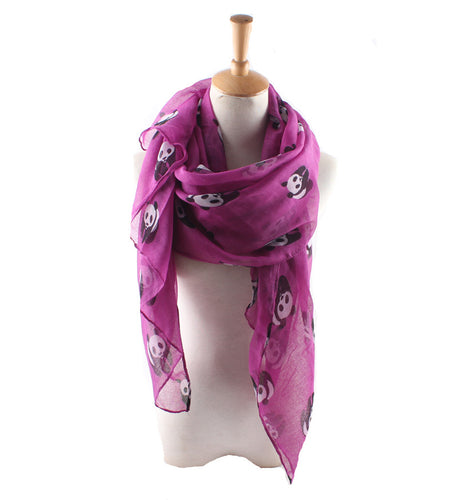 Fashion casual Panda   pattern printed scarf silk scarf