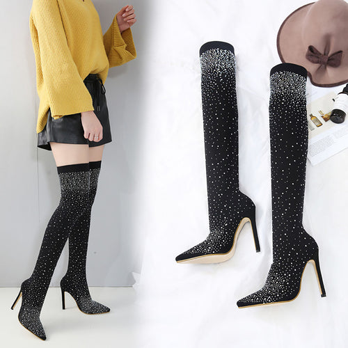 Sexy stretch cloth high-heeled knee boots
