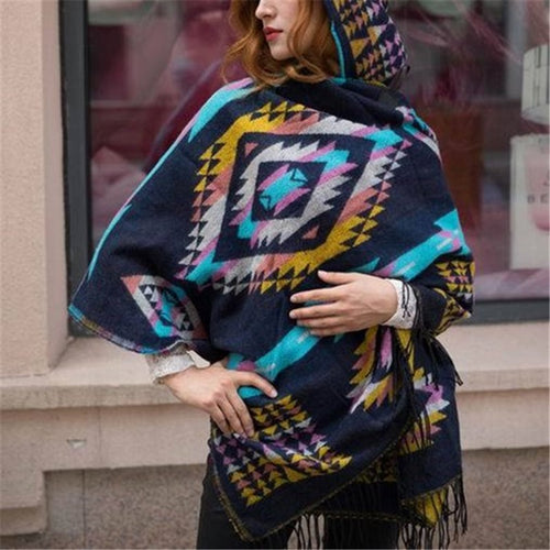 Fashion casual   Bohemian Hooded national style Cape shawl knitted Cloak