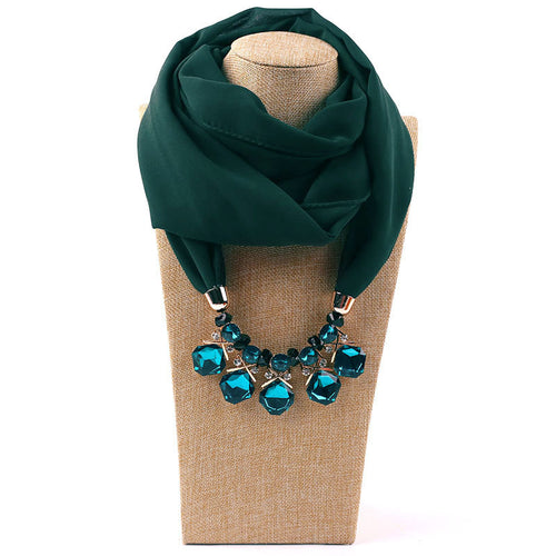 Fashion Vintage ethnic style Pearl necklace   chiffon scarf