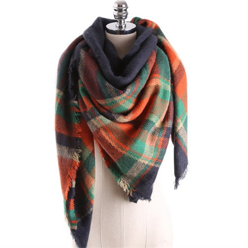 British Plaid Contrast Color Cashmere Large Square