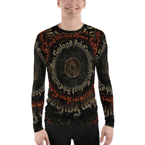 BlackLetterRitual Calligrafitti Regal Black,Red and Gold Men's Rash Guard