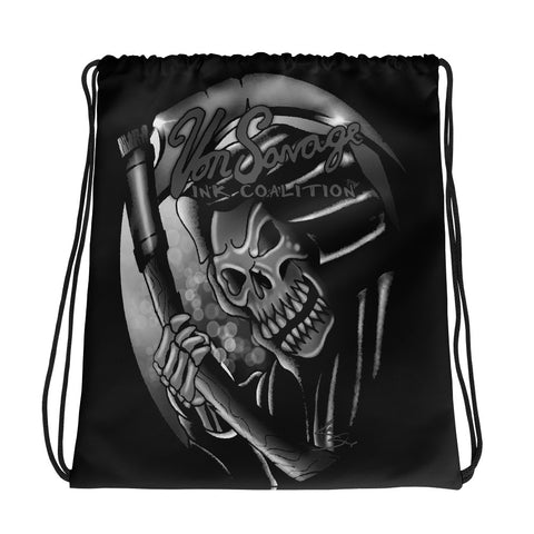 Rik Sharp Black and Grey Reaper Drawstring bag
