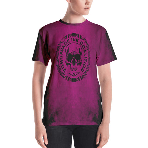 Destroy Pink and Black Insignia Women's Crew Neck T-shirt