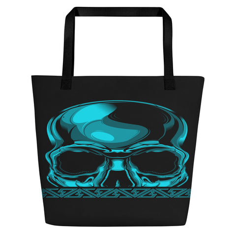 G2GBay SKULL FACE Cyan Beach Bag