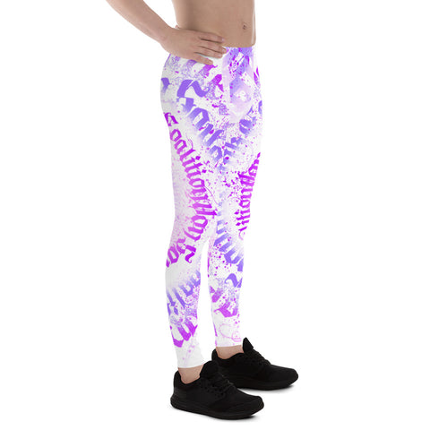 BLR Calligrafitti Violet in White Men's Leggings