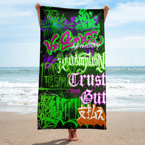 "BlackLetterRitual ""Redemption"" Towel in Black/Lt Green/Green/Purple"