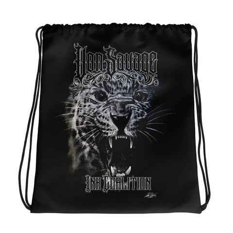 Adam O'Brien Savage Leopard Drawstring bag