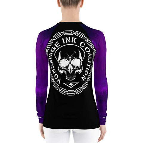 Purple Ombre Sleeved Insignia Women's Rash Guard