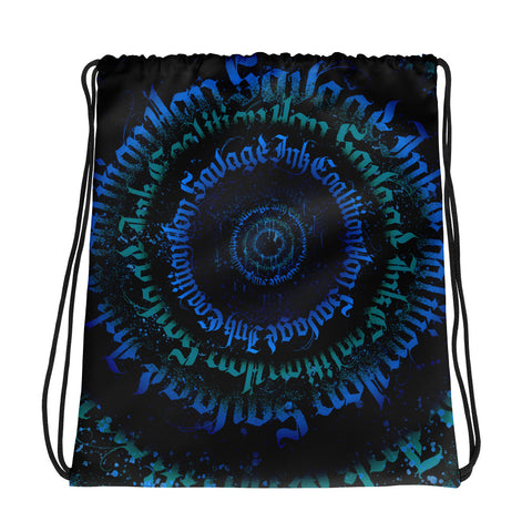 BlackLetterRitual Calligrafitti Midnight Drawstring bag