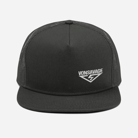 VonSavage White Threads Logo Mesh Back Snapback