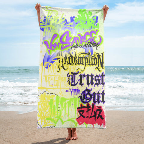 "BlackLetterRitual ""Redemption"" Towel in Yellow/Green/Black"