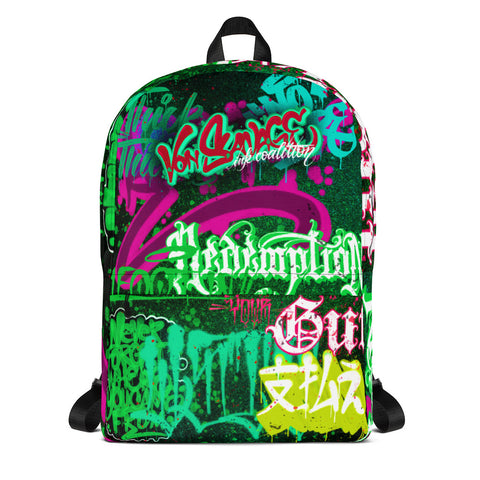 "BlackLetterRitual ""Redemption"" Backpack in Black/Green/Pink"