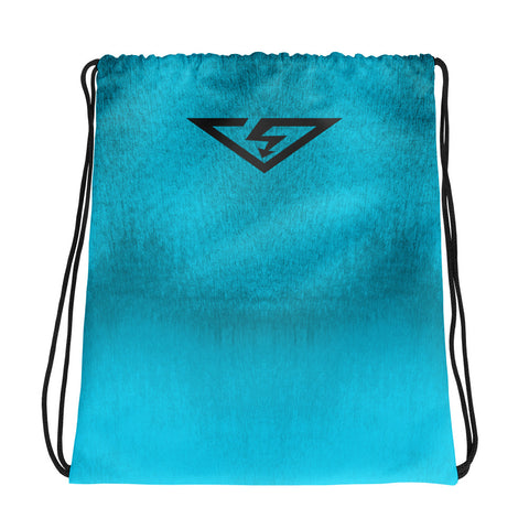 Ice Blue Ombre Drawstring Bag
