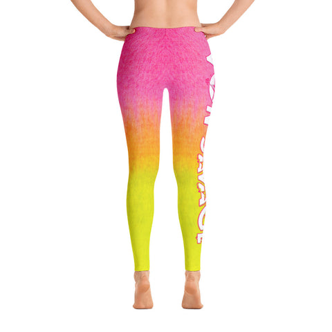 Von Savage Ombre Pink and Yellow Logo Leggings
