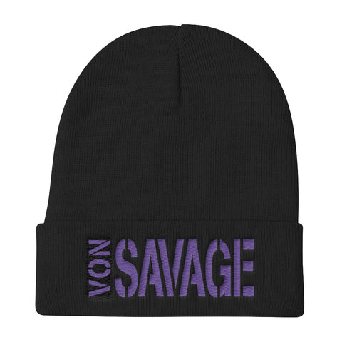 VonSavage Tag Logo Purple Threads Knit Beanie