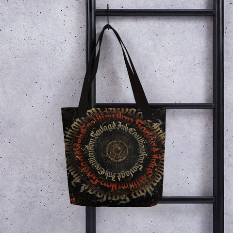 BlackLetterRitual Calligrafitti Regal Black, Red and Gold Tote bag