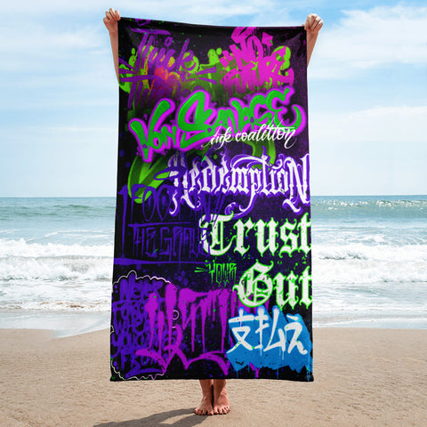 "BlackLetterRitual ""Redemption"" Towel in Black/Purple/Green"