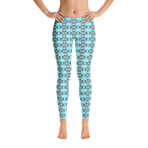"Nebula Drawings ""Danger"" Cyan Leggings"