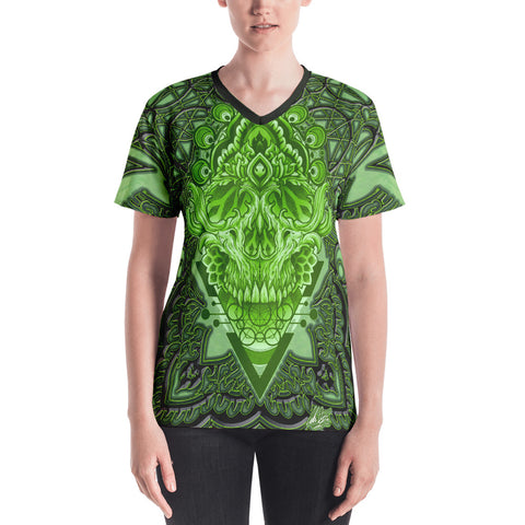 Adam O'Brien Green Skull Women's V-neck