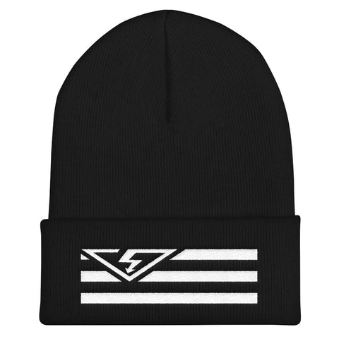 VS FLAG LOGO White Threads Cuffed Beanie