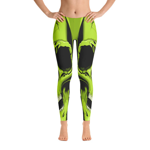 G2GBay SKULL FACE Zombie Green Leggings