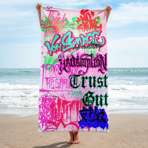 "BlackLetterRitual ""Redemption"" Towel in Pink/Pink/Green"