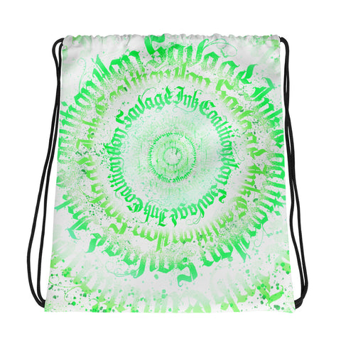 BlackLetterRitual Calligrafitti Key Lime Drawstring bag
