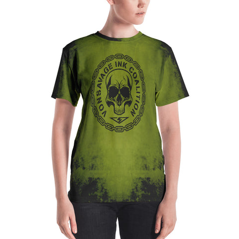Destroy Green and Black Insignia Women's Crew Neck T-shirt