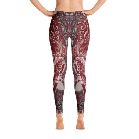 Adam O'Brien Maroon Skull Leggings