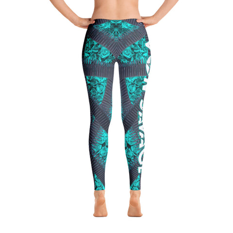 VonSavage Ammo Rose Cyan Leggings