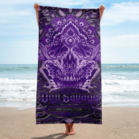 Adam O'Brien Purple Skull Beach Towel
