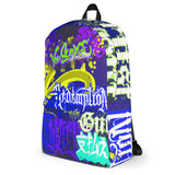 "BlackLetterRitual ""Redemption"" Backpack in Black/Blue/Purple"