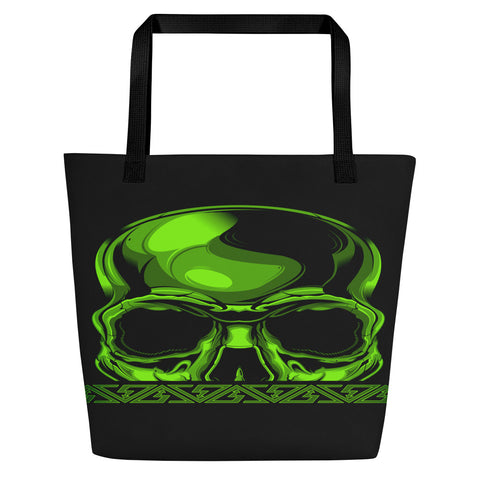 G2GBay SKULL FACE Green Beach Bag
