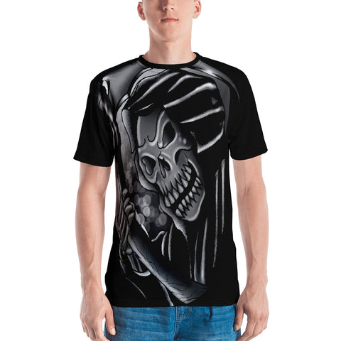 Rik Sharp Black and Grey Grim Reaper Men's T-shirt