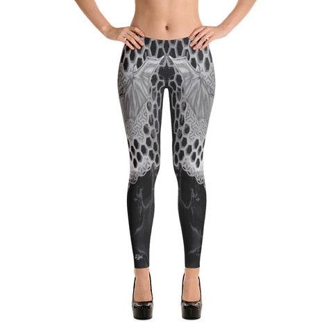 Adam O'Brien Black and Grey Bat Leggings