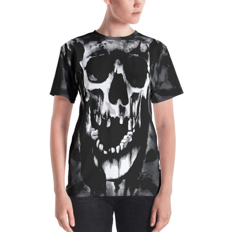 John Todd Black and Grey Water Skuller Women's Crew Neck T-shirt