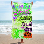 "BlackLetterRitual ""Redemption"" Towel in White/Bright Green/Green"