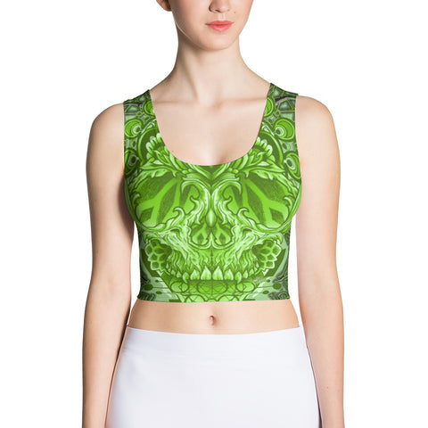 Adam O'Brien Green Bat Skull Crop Top