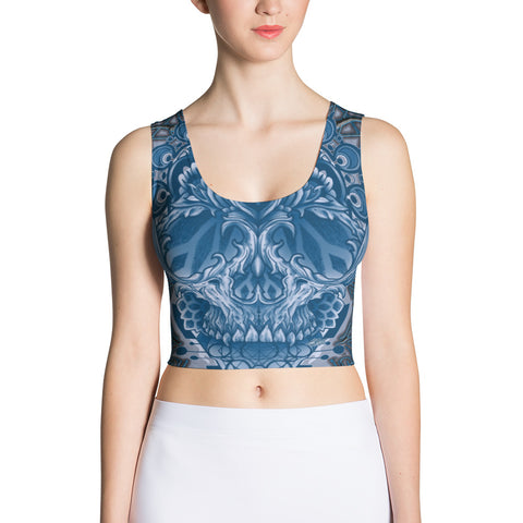 Adam O'Brien Cobalt Blue Skull Crop Top