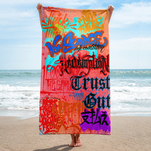 "BlackLetterRitual ""Redemption"" Towel in Red/Rust/Blue"
