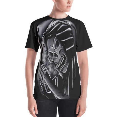 Rik Sharp Black and Grey Grim Reaper Women's Crew Neck T-shirt