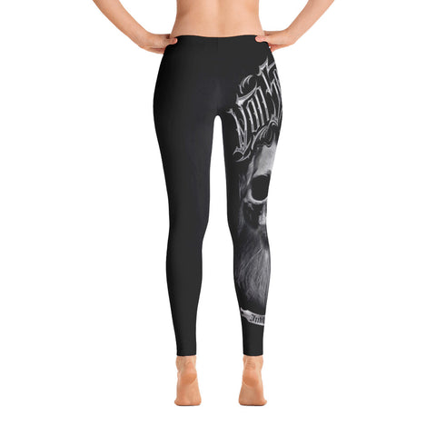 Daniel Japaniel Bearded Skull Black and Grey Leggings