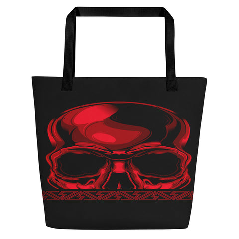 G2GBay SKULL FACE Red Beach Bag