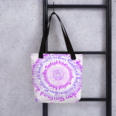 BlackLetterRitual Calligrafitti Violet in White Tote bag