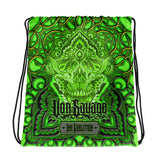 Adam O'Brien Green Skull Drawstring bag