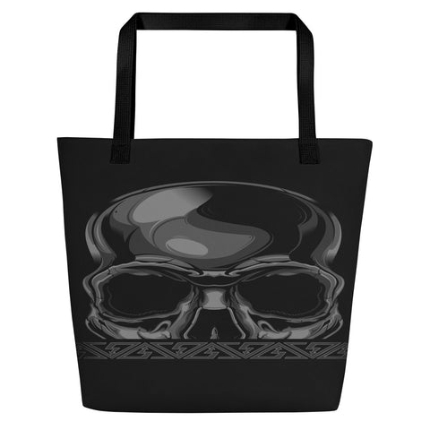 G2GBay SKULL FACE Black and Grey Beach Bag