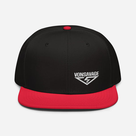 VonSavage White Threads Logo Snapback Hat