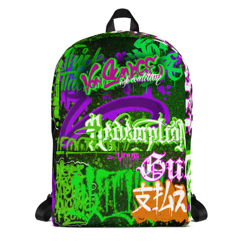 "BlackLetterRitual ""Redemption"" Backpack in Black/Green/Purple"