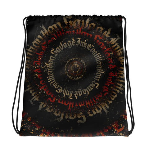 BlackLetter Ritual Calligrafitti Regal Black, Red and Gold Drawstring bag